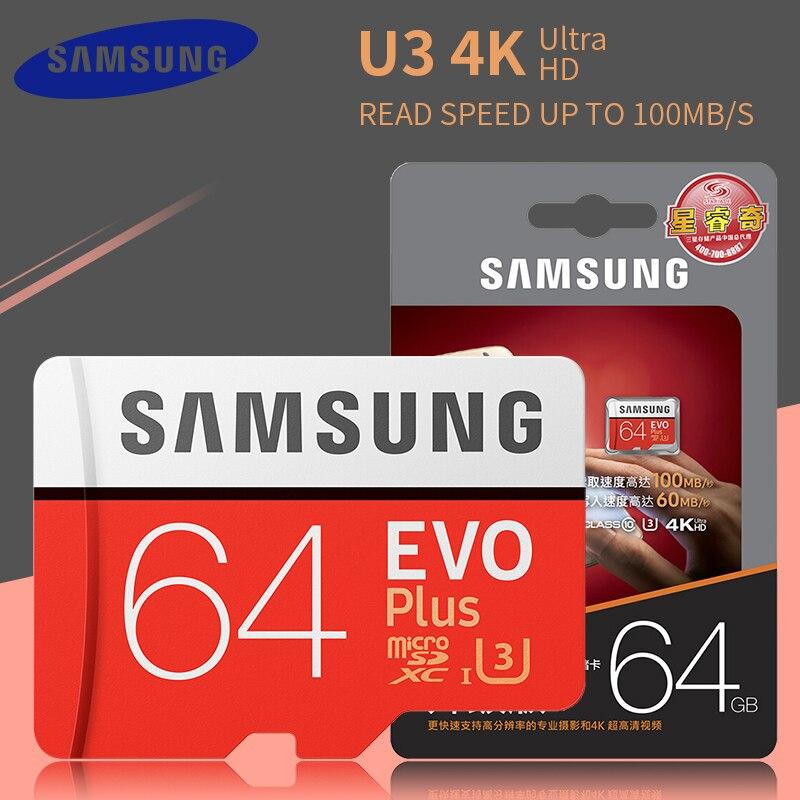 Original SAMSUNG EVO Plus memory card 64GB 128GB Micro-sd tf card Class10 100MB/s SDXC Micro sd 32GB 95MB/s flash memory cardOriginal SAMSUNG EVO Plus memory card 64GB 128GB Micro-sd tf card Class10 100MB/s SDXC Micro sd 32GB 95MB/s flash memory card