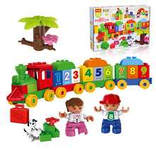 Quality Original HUIMEI Big Building Blocks Number Train Baby Blocks Educational Toys Compatible with Lego Duplo  цены