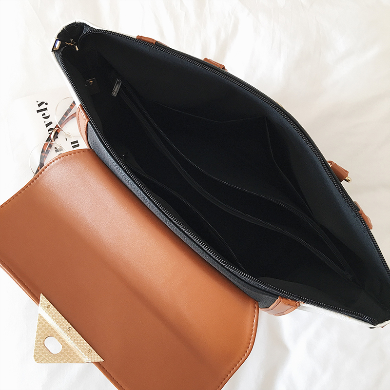 Image 5 - Panelled Women Bag Lock Trapeze Women Totes 2017 Luxury Leather Handbags Designer Famous Brand Women Crossbody Messenger Bags-in Top-Handle Bags from Luggage & Bags
