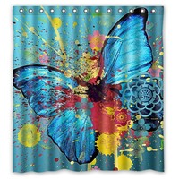 Hot Sell Bathroom Shower Curtain Butterfly Waterproof Fabric Shower Curtain 66 X 72 60 X 72