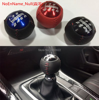 Round ball leather 6 speed M10*1.5 mugen gear shift knob shifter lever head fit for hond Acur black red blue mugen gear shift knob knob shifter 6 speed -