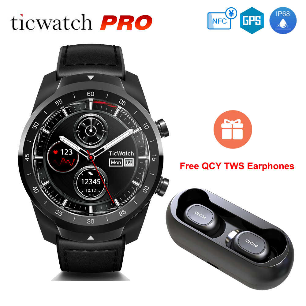 [Gratis QCY Tws] Ticwatch Pro Android Wear NFC Google Pay GPS Smart Watch IP68 Tahan Air Layar AMOLED Smartwatchs untuk Pria