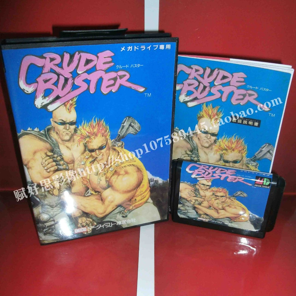 Crude Buster Game cartridge with Box and Manual 16 bit MD card for Sega Mega Drive for Genesis