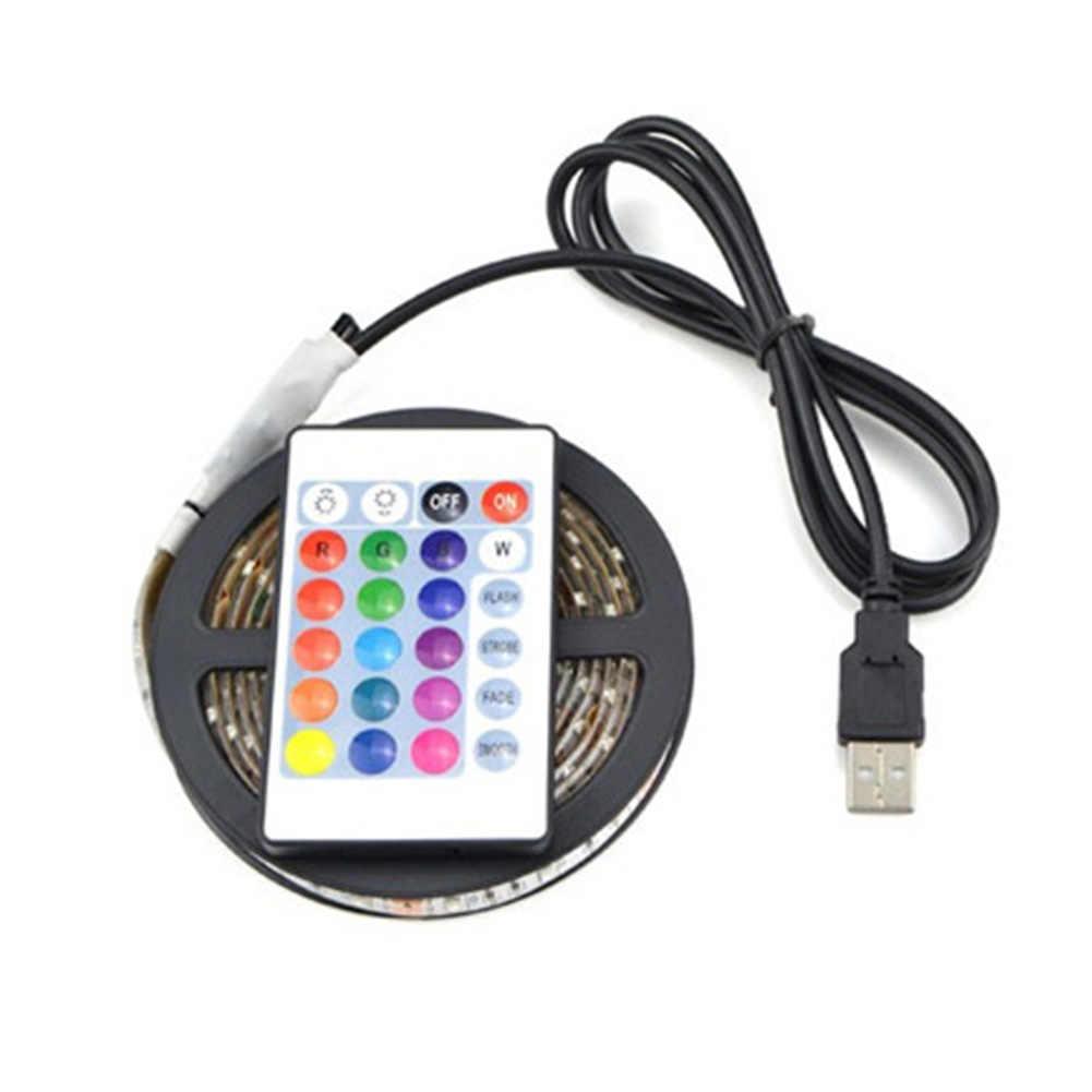 5050RGB изменение цвета + пульт дистанционного управления 50-200 см USB Светодиодная лента свет ТВ Задняя лампа день белый теплый белый синий/RGB велосипедная полоса