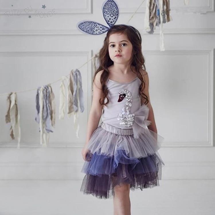 Fairy girls tutu skirt 2pcs kids clothing set summer baby sequined tops and petti skirt elegant