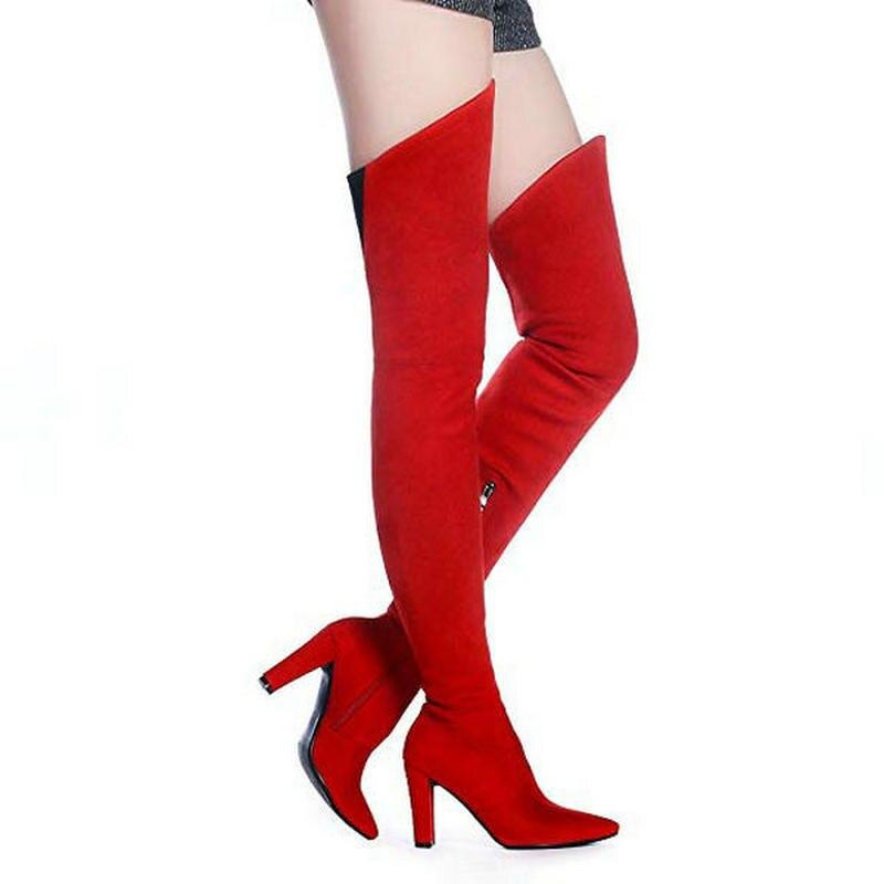 e54b7114eca7 V Форма сапоги до бедра Эластичные женские замшевые сапоги выше колена  острый носок вечерние пикантные женские ботинки с высоким голенищем  расклешённые с ...
