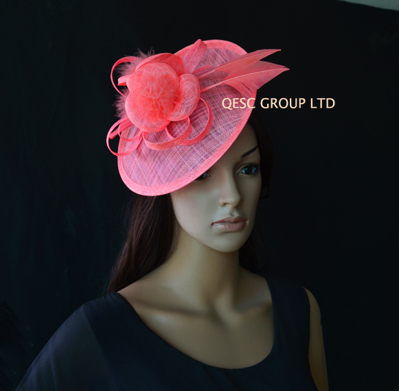 NEW Coral Pink Sinamay Fascinator Hat With Arrow Feather