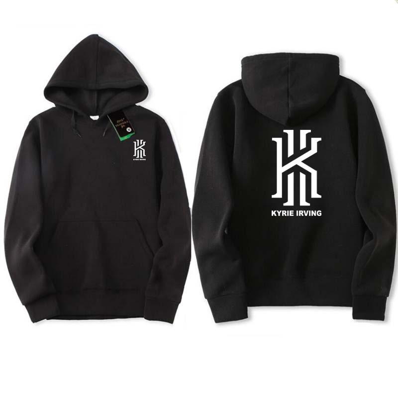 2017 autumn winter Hoodies Sweatshirts men Hoodies nba Hip Hop Kyrie Irving printed Grey black Hoody Pullover ding