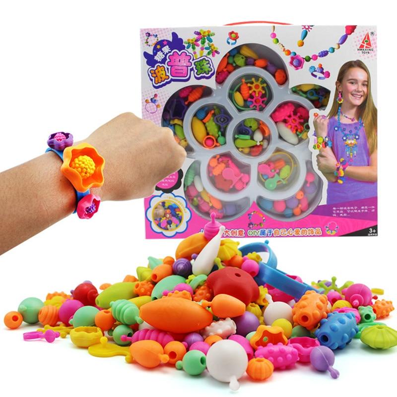 105Pcs Rainbow Cordless Popper Beaded Beads Toys Handwork For Children DIY Developmental Toys Ring Necklace Bracelet Girls' Game