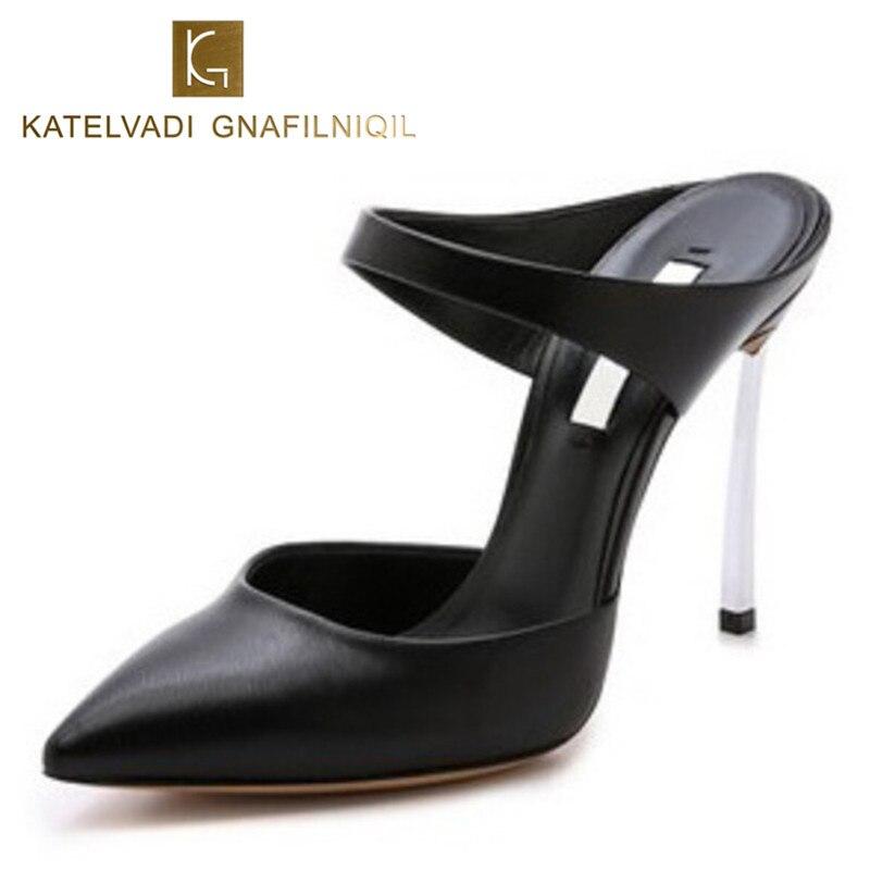 Brand Sandals Women High Heels Black Sandals Slipper 10CM Heels Summer Slipper Womens Sandals Shoes Fashion High Heels B-0033