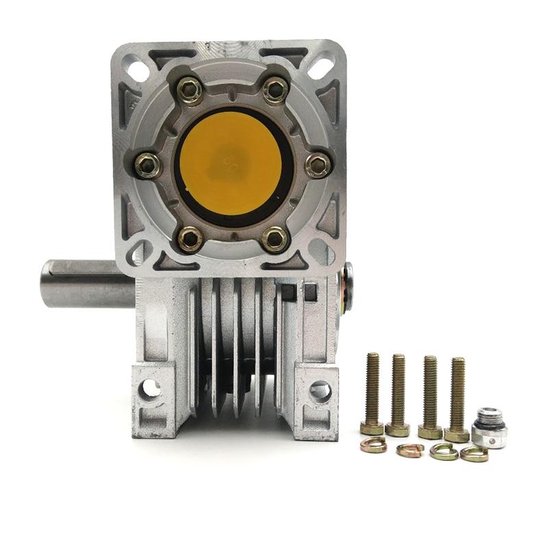 NMRV050 Ratio 80 1 Worm Gearbox 14mm 19mm Input Shaft 90 Degree Worm Gear Speed Reducer