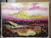Hand Painted Art Painting Colorful Gold Mountain Wall Landscape Oil Painting Home Decoration Pictures Canvas Oil