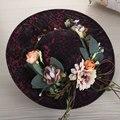 2017 Frete Grátis Mais Novo Red Wine Wedding Chapéus Cap Estilo Ocidental Chapéus De Noiva Para O Casamento Da Noiva Vestidos de Noite do baile de Finalistas