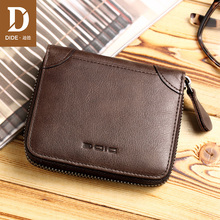 DIDE 100% Genuine Leather Wallet Men Wallets Vintage Short Coin Purse Small Cowhide Card Holder Pocket DQ657