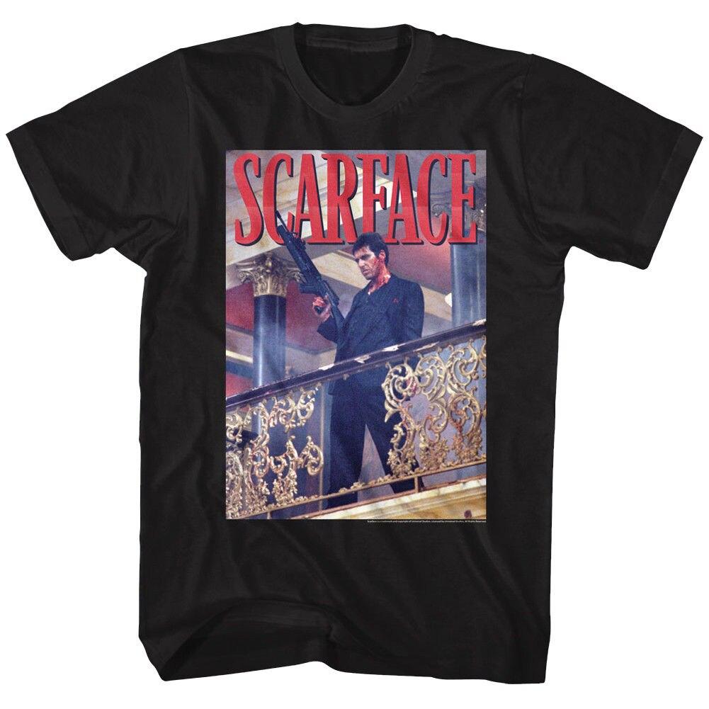 Мужские официальный Scarface фильм Аль Пачино футболка перила выстрел черный хлопок S-5XL
