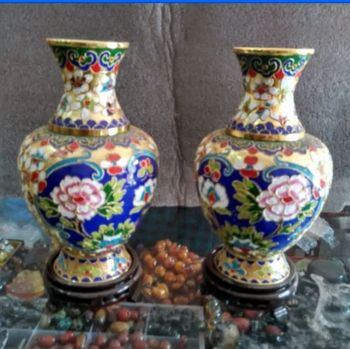 7.88 inch / A Pair of Elaborate Collecting Chinese cloisonne flower  vases