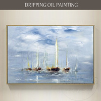 Excellent Artist Hand Painted High Quality Seascape Boat Oil Painting On Canvas Modern Wall Art Boat