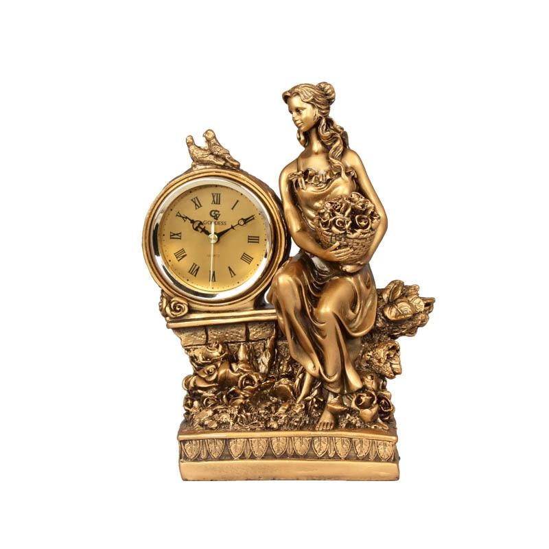 Horloge siège pendule cadeau amoureux style européen chambre salon mode artisanat horloge base pendule horloge résine