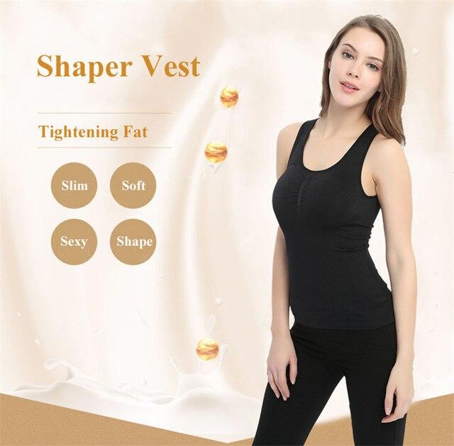 Plus Size Bra Cami Tank Top Women Body Shaper Removable Shaper Underwear Slimming Vest Corset Shapewear 5