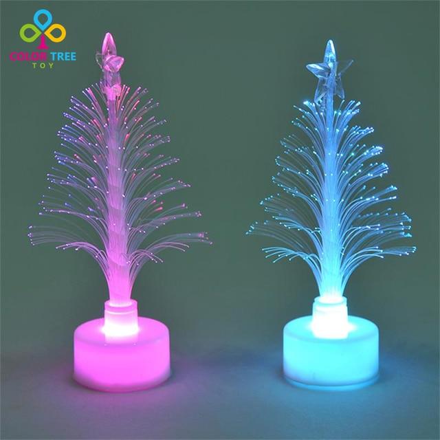 creatieve kleurrijke discolor led verlichting mini kerstboom led speelgoed flash fiber licht speelgoed geschenken voor kinderen