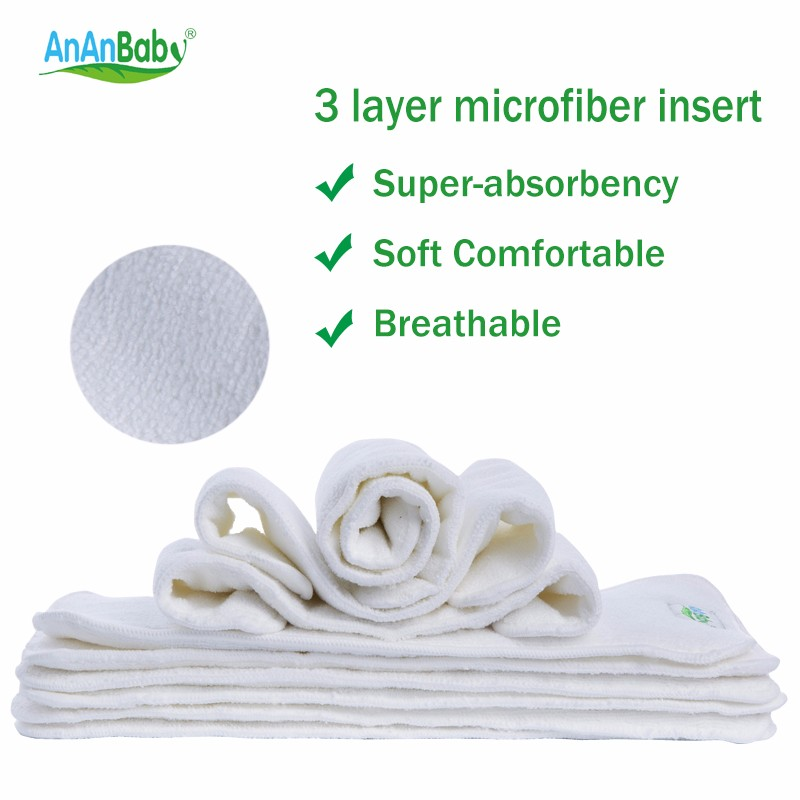 1pcs 3 Layer Microfiber Inserts Breathable Diaper Absorbent Insert Reusable Diaper Insert