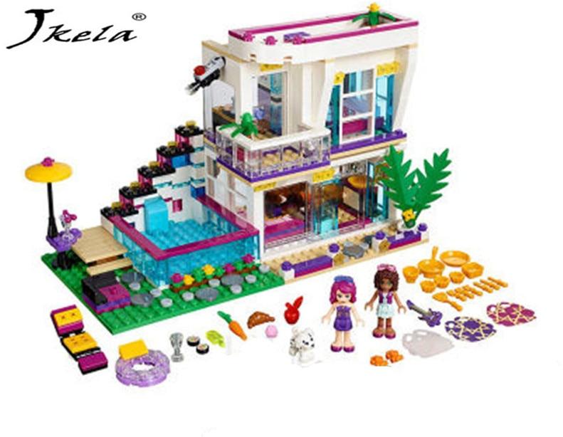 [Jkela] New 619pcs Friends Series Livis Pop Star House Building Blocks Andrea mini-doll Toy Compatible With Legoingly friends ...