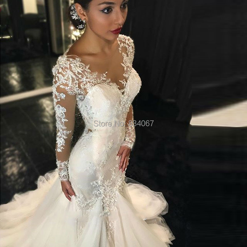 faa3cb792a54 Most Beautiful Long Sleeves Mermaid Wedding Dress Elegant 2017 robe de  mariage Lace Appliques Long Back Bridal Wedding Gowns -in Wedding Dresses  from ...