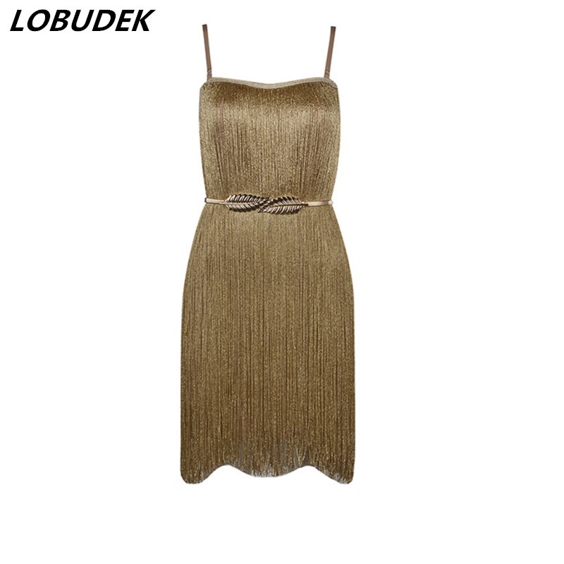 Occident Female Singer Stage Costume Show Prom Party Birthday Celebration Dress Gold Tassels Sexy Backless Package