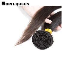 Sophqueen Brazilian Virgin Straight Wave Hair Bundle For Hair Salon Natural Brown Pre-bleached High Quality Free Shipping