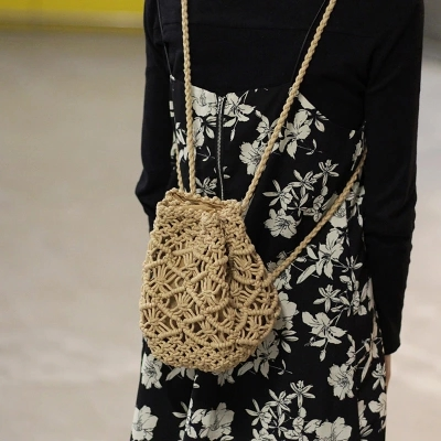 Vintage Woven Backpack Cotton Rope Bucket Small Straw Bag Vacation Travel Mini Fresh Backpack Hand-woven Bags #4