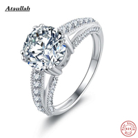 Ataullah Solid NSCD Lab Diamond 925 Sterling Silver Wedding Rings for Women Love Stamp Silver Women Engagement Rings RWD864