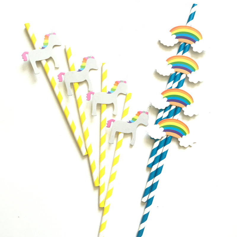 4 PCS Wooden Horse & Rainbow Style Paper Straws Disposable Drinking Props for Photography Pipette Party Decoration