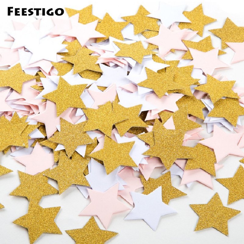 100pcs/lot 3cm Gold Paper Heart/Star/Round Shape Throwing Confetti Wedding Birthday Baby Shower Table Cake Party Decoration