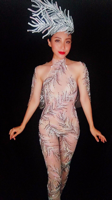 Salopette Body 2018 Tenue Leggings En Voir Strass Pièce D'une Maille Chanteuse Color Pic Motif Partie Bar Nouveau Sexy Discothèque À Seule Travers 7r7vY