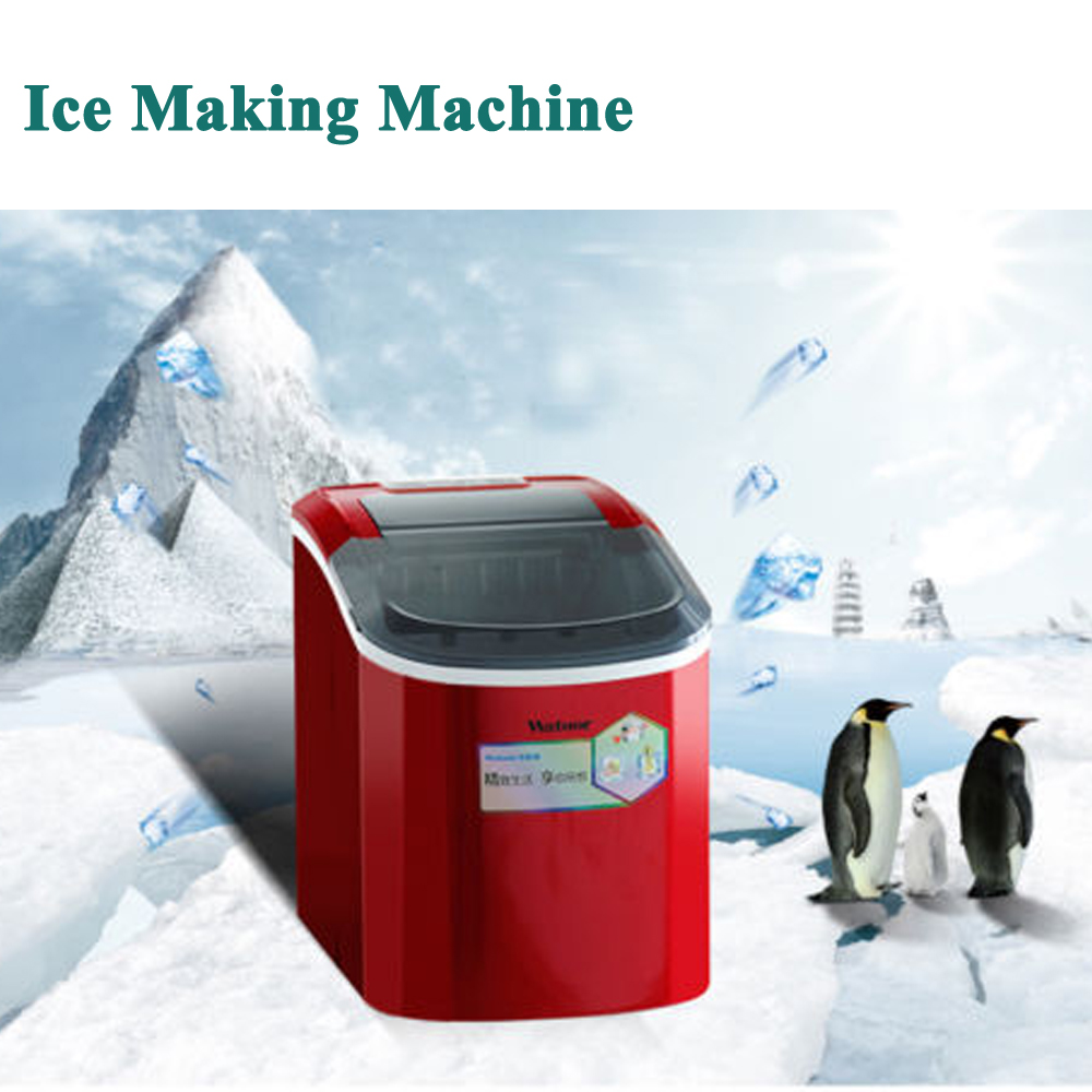 Portable 15kg/24h 220V Automatic Countertop <font><b>Ice</b></font> Cube <font><b>Maker</b></font> Commercial & Household IceCube Machine