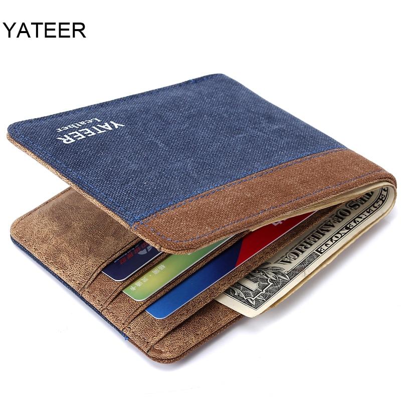 New Arrive Canvas Purses Men's Wallets Carteira Masculine Billeteras Porte Monnaie Monederos 4 Colors 2 Fold Wallet For Male Men