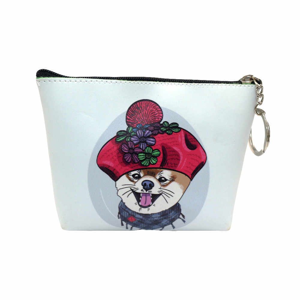 Mulheres Carteira Legal Impressão do gato do cão Lanches Mudança Saco Da Bolsa Da Moeda Da Carteira Bolsa Chave Titular Portamonete **