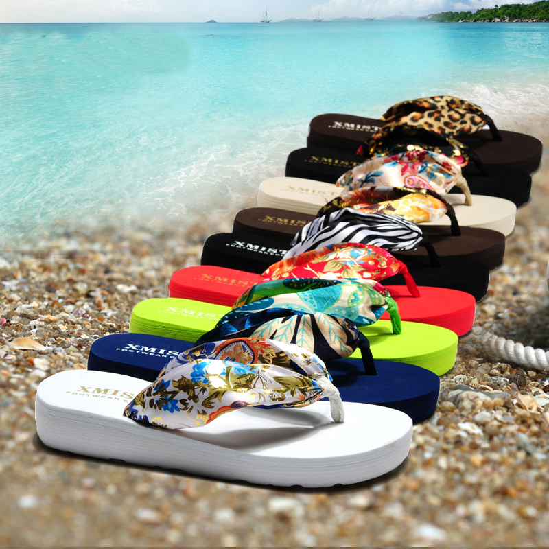Summer Women Slippers Bohemia Anti-slip Thongs Sandals Beach Flip Flops Platform Female Shoes LDD923