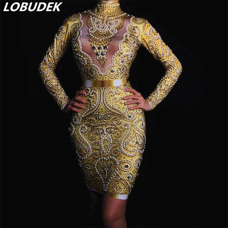 Sparkly Gold Rhinestones Pearls Skinny Dress Glass Diamond Long Sleeve Mini Dress Formal Party Women Nightclub