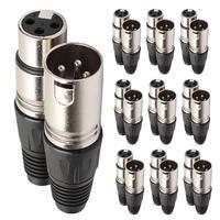 10 пар 3 Pin XLR аудио кабель Разъем Мужской/Женский микрофонный разъем и для микрофона кабель Электрический адаптер аудио кабель черный