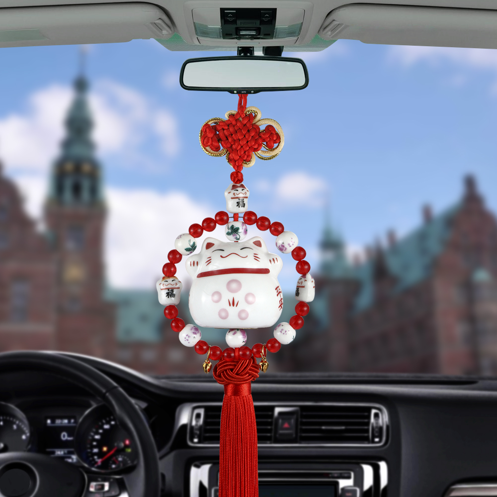Car Pendant Cute Ceramics Lucky Cat Decoration Hanging Ornaments Automotive Interior Rearview Mirror Good Luck Suspension Trim car pendant cute helmet rearview mirror hanging for game of thrones cartoon automobile interior decoration ornament accessories