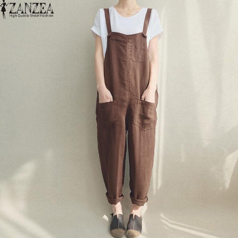 Aus Dem Ausland Importiert Frauen Overalls Zanzea 2019 Vintage Pantalon Strap Overall Sleeveless Strampler Strumpf Casual Harem Hosen Latzhose Body