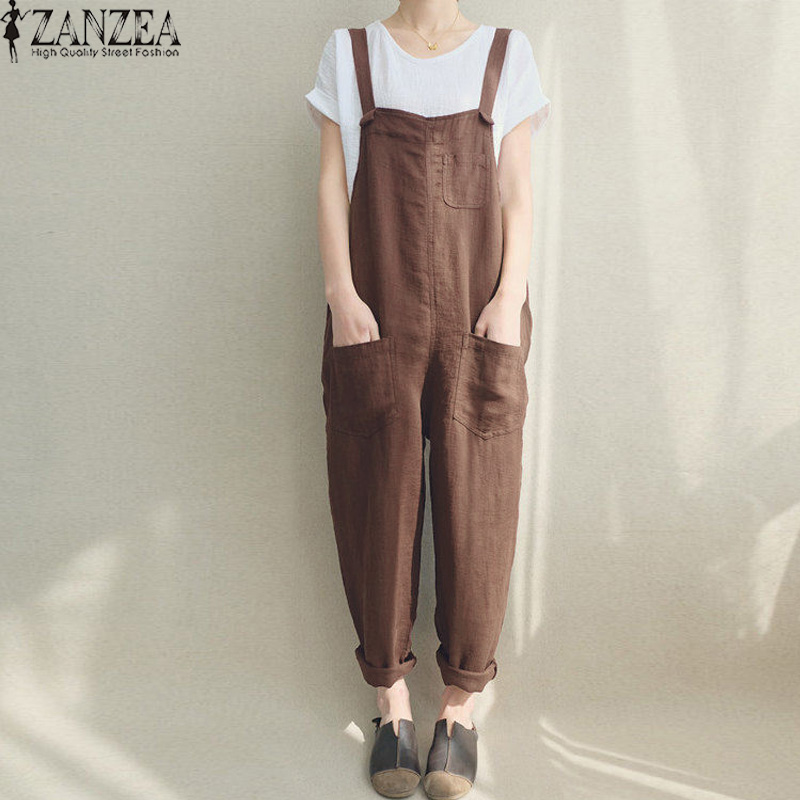 Women   Jumpsuits   ZANZEA 2018 Vintage Pantalon Strap Playsuit Sleeveless Rompers Suspender Casual Harem Pants Dungaree Bodysuit