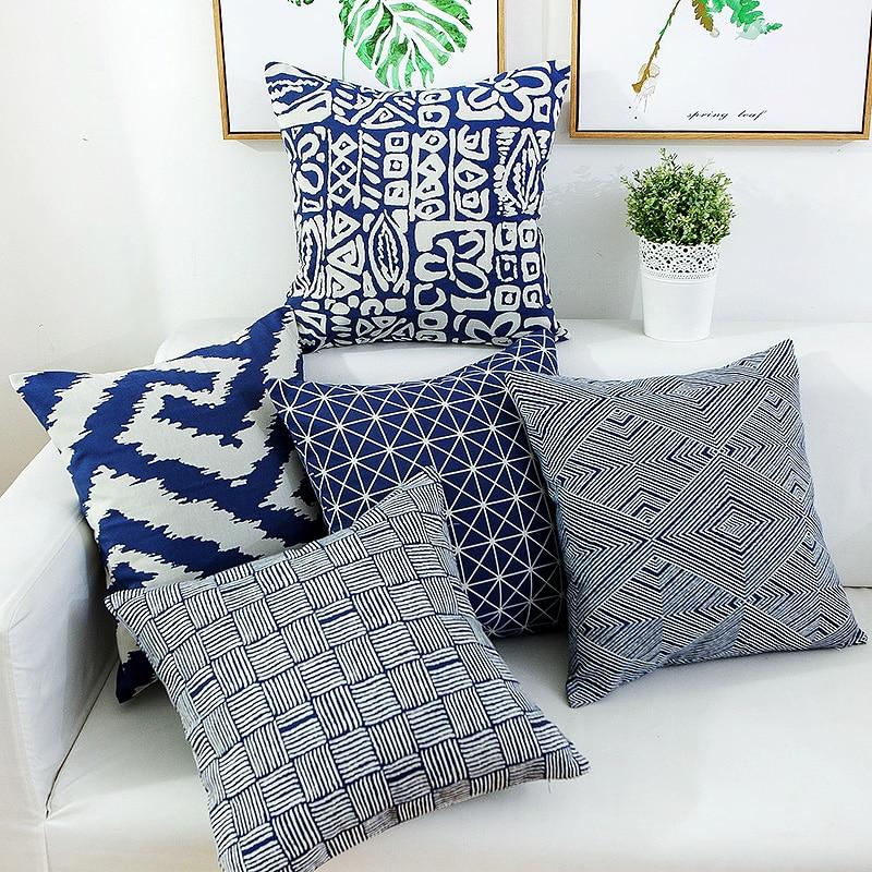 45x45cm 60x60 70x70cm nordic geometric cushion cover living room modern minimalist dark blue linen pillow cover throw pillowcase