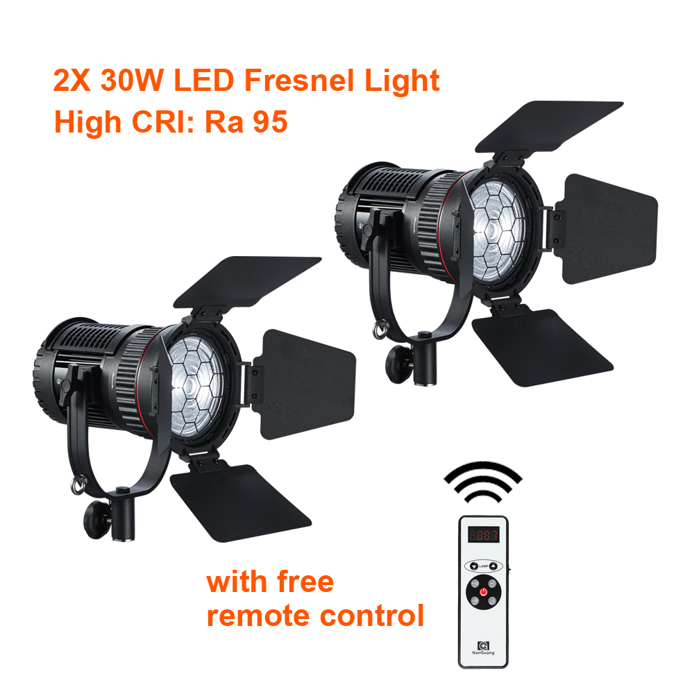 2 x CN-30F 30W Focusable and Dimmable Fresnel Spotlight  with Remote Control and Carrying Bag