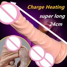Отопление USB зарядки огромный Дилдо вибратор для Женщин двойной мотор стимулировать Реалистичная мужской искусственный пенис взрослых Секс Игрушки для женщин