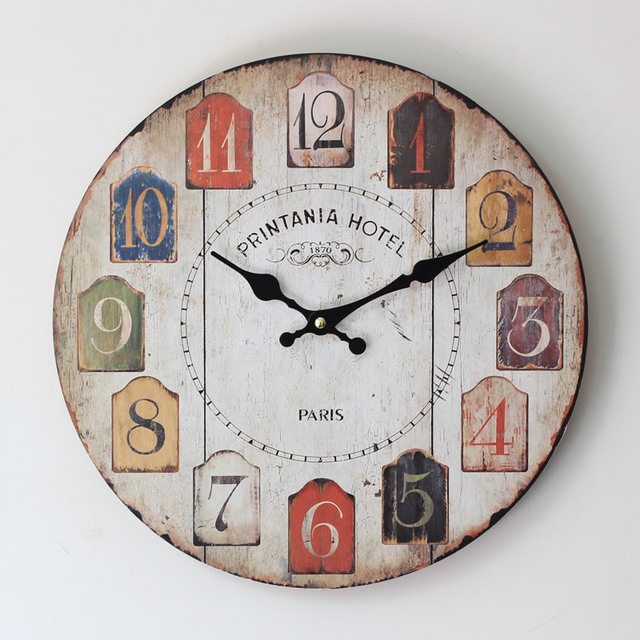 2015 Reloj De Pared Hot Sale Arabic Numerals Wall Clock Electronic Zakka Style Home Fashion Round Qutartz Watches For Decoration