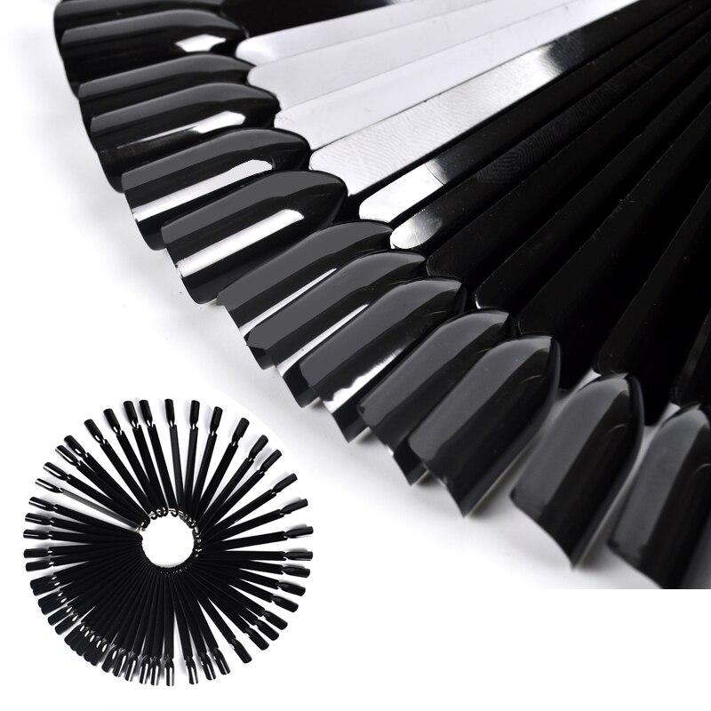50 Tips Black Nail Art Color Display Full Covers Fake Nail Tips Polish Uv Gel Nail Art Display Color Chart Nail Polish Display