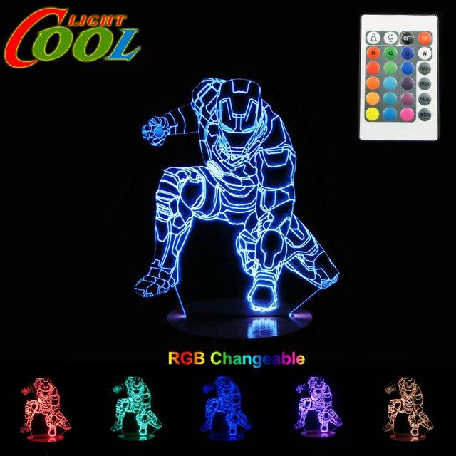 3D LED Light RGB Changeable Mood Lamp Super Hero Night Light DC5V USB Decorative Table Lamp.