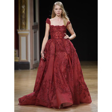 Stunning Burgundy Square Collar A-Line Organza Long Evening Dresses with Capped Sleeves Floor-Length Sweep Train Evening Gowns
